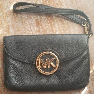 Michael Kors Black leather wristlet